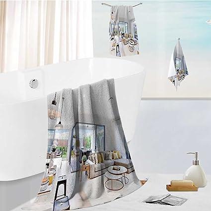 Jiahonghome Juego de toallas de baño Spa 3D impresión digital moderna área de cocina adjunta a