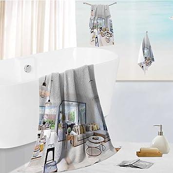 Jiahonghome Juego de toallas de baño Spa 3D impresión digital moderna área de cocina adjunta a ...