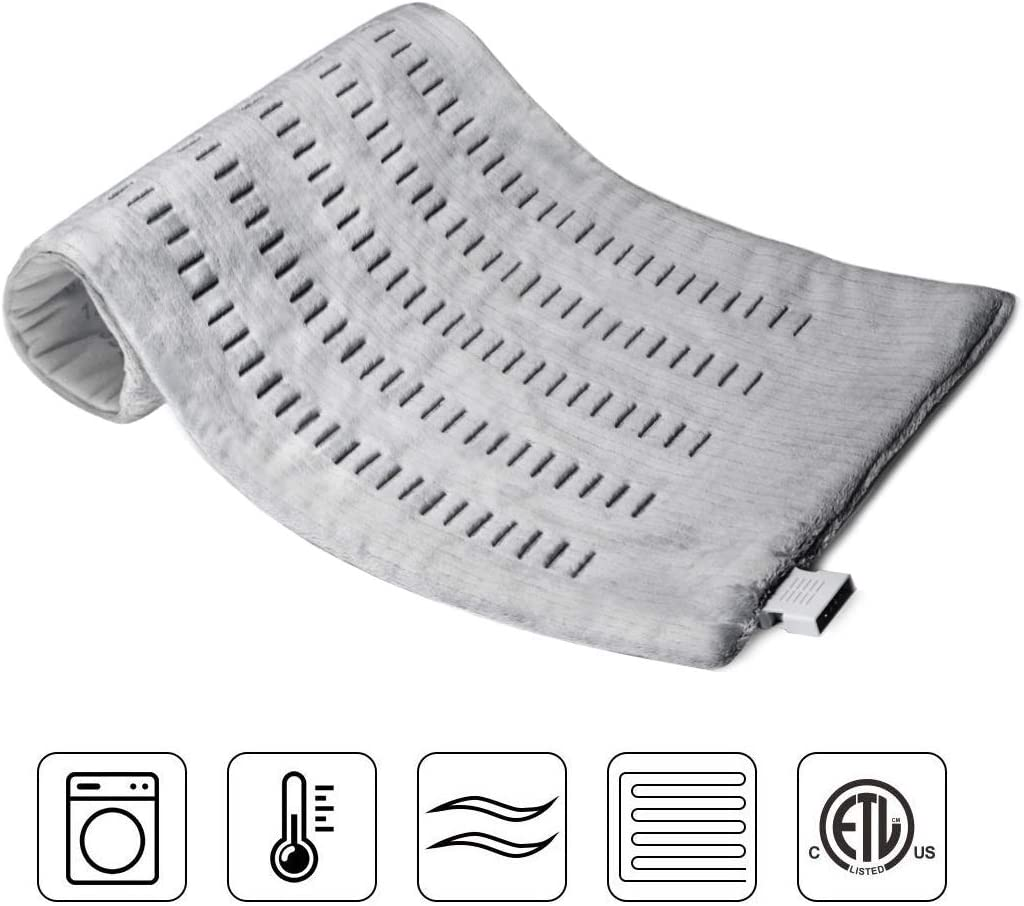 """ZXU 12"""" X 24"""" Electric Heating Pad with Enhanced Temperature Heat Therapy for Relieving Backache and Stomachache, Treating Sore Arms, Knee Pain, Tension and Stiffness"""