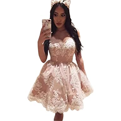 5083a404982 Dimei Mini Lace Applique Cocktail Party Dress Off Shoulder Women s Short  Sweetheart Prom Homecoming Dress