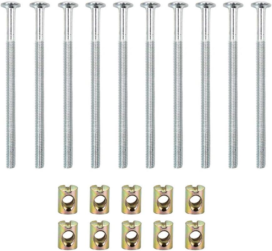 90mm 10 unids M6 Tornillos de Acero al Carbono Tornillos Con Tuercas Barril Tuerca Pasador Conector de Muebles Sujetador