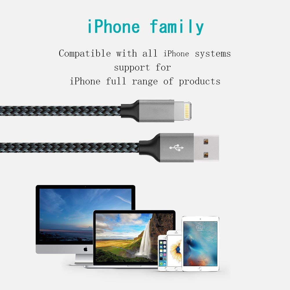 Extra Long Nylon Braided USB Charging /& Syncing Cord Compatible iPhone Xs//Xs Max//XR//X//8//8Plus//7//7Plus//6S//6S Plus//SE//iPad//iPod and More 4-Pack 3//3//6//10FT iPhone Charger,MFi Certified Lightning Cable