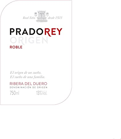 PRADOREY Roble Origen -Vino tinto - Roble-Ribera del Duero-95%Tempranillo, 3% Cabernet sauvignon, 2% Merlot - Vino joven con ligero paso por barrica-1 Botella-0,75L
