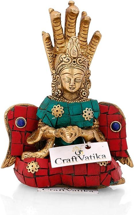 Craftvatika Latón Serpiente Diosa Nag Kanya Estatua Diosa De La Fertilidad Mansa Devi Sentado Escultura Patanjali Figura Home Kitchen