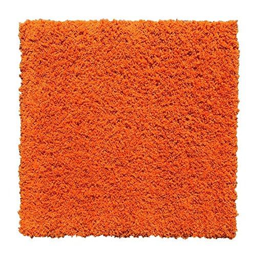 Maxy Home Belvedere Shag Solid Orange 39 in. x 39 in. Square Area (Square Orange Shag Rug)