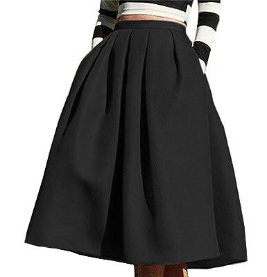 a4318fbf4d1192 Omela - Jupe - Trapèze - Femme Small - Noir - XL: Amazon.fr ...
