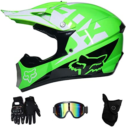 L Vert NJMSC Adulte Motocross MX Casque Casque de moto VTT Scooter VTT Casque DOT certifi/é Multicolor avec lunettes masque Gants S, M, L, XL 56~57cm