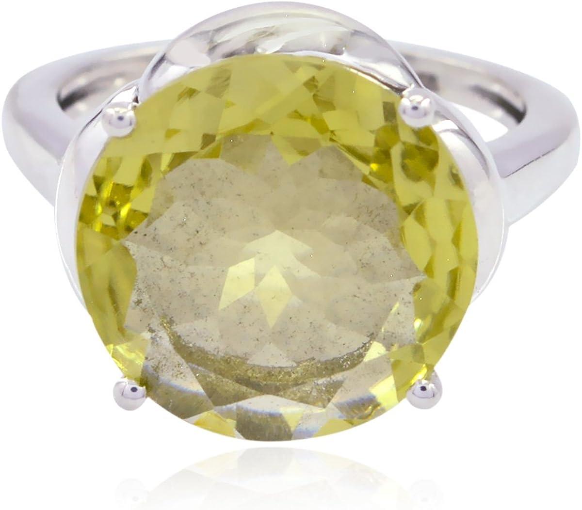 Supply Jewelry Greatest Seller Gift for Mother Rings 925 Silver Yellow Lemon Quartz Genuine Gems Ring Genuine Gems Round Faceted Lemon Quartz Ring