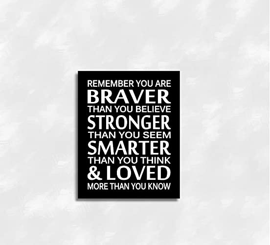 Black white canvas baby boy nursery wall art remember you are braver prints bedroom baby nursery