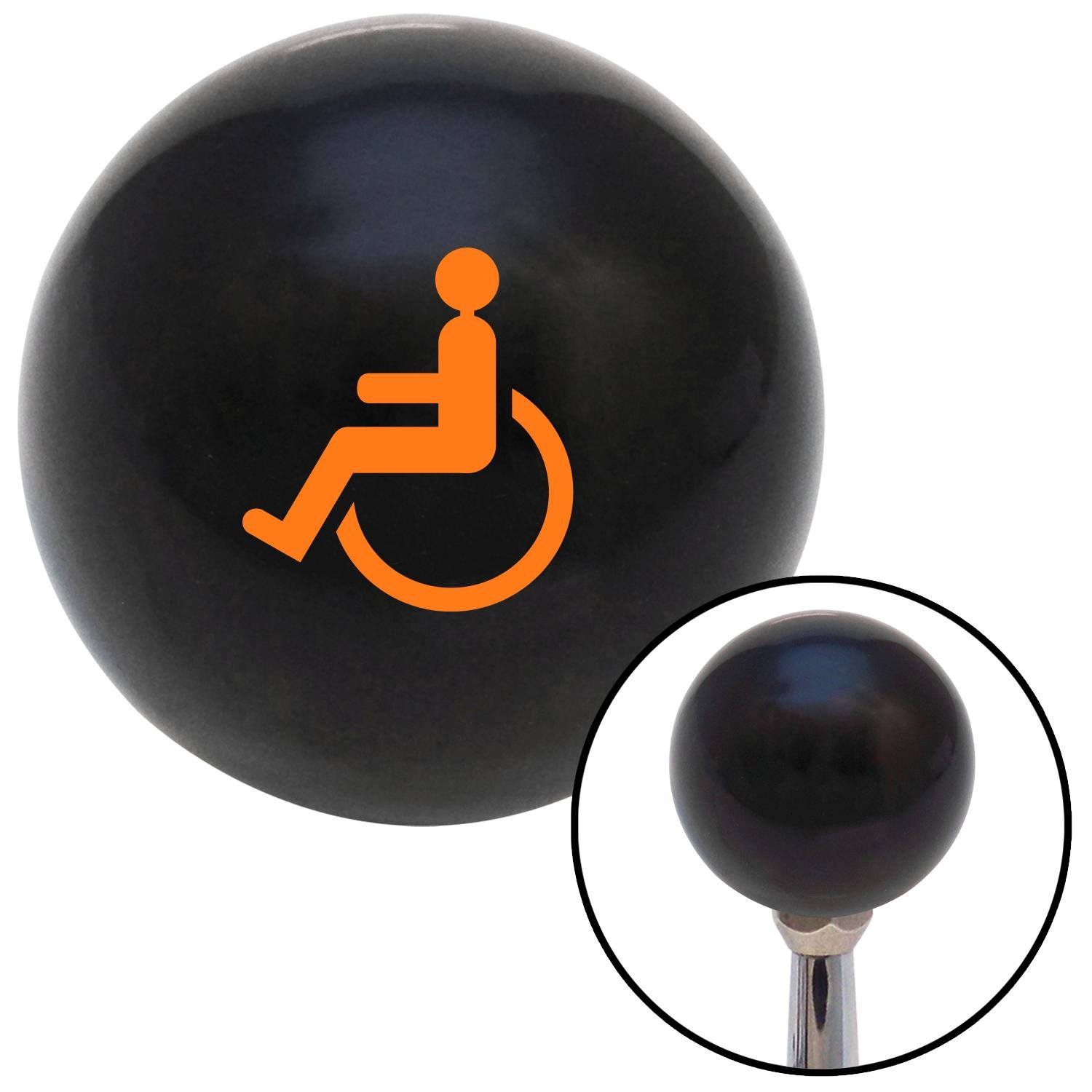 American Shifter 110313 Black Shift Knob with M16 x 1.5 Insert Orange Wheelchair