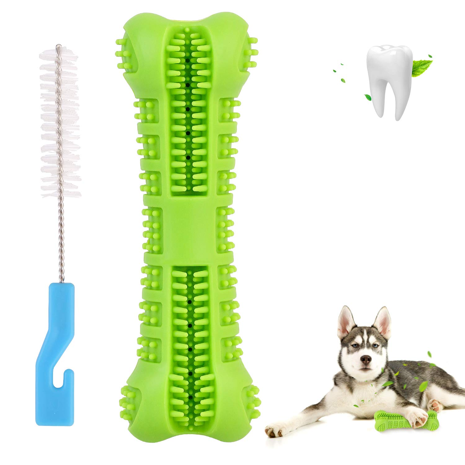 DIDIPET Dog Toothbrush Chew Toy Teeth Cleaning Stick for Puppy Dental Care Doggy 0-45lbs Massager Natural Rubber Bite Resistant by DIDIPET