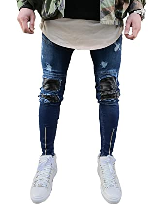 b11d94199ce0 XARAZA Men s Ripped Slim Fit Jeans Denim Pants with Broken Holes (US  W26 Tag28