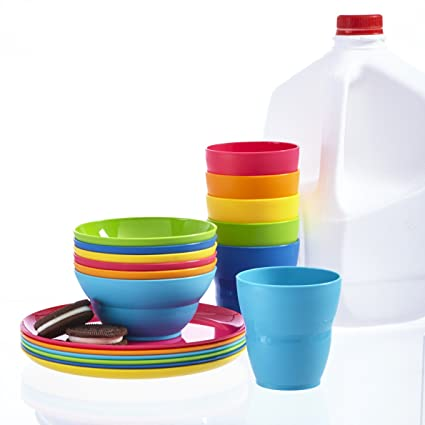 Ellie Kids Plastic Tumblers Snack Bowls u0026 Snack Plates | 18-piece set in  sc 1 st  Amazon.com & Amazon.com | Ellie Kids Plastic Tumblers Snack Bowls u0026 Snack Plates ...
