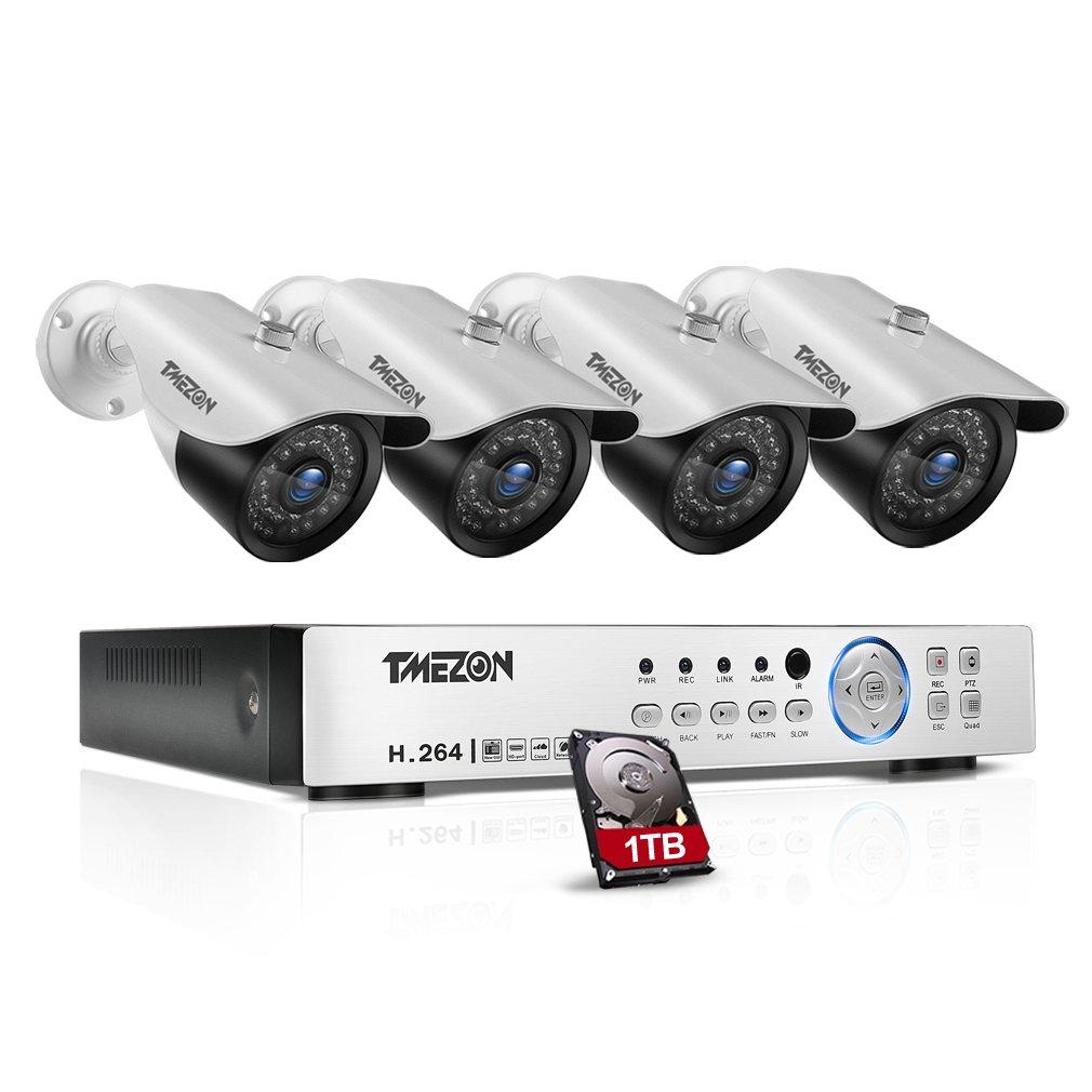 TMEZON AHD防犯カメラセット4台 「200万画素 赤外線LED36個 3.6MM固定レンズ」+4CH 1080Nレコーダー 1TB HDD付き(ホワイト) B01CS8AQL4 200万画素1080Nカメラセット|カメラ4台+4ch 1080Nレコーダー(1TB HDD付き) カメラ4台+4ch 1080Nレコーダー(1TB HDD付き) 200万画素1080Nカメラセット