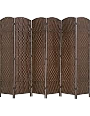 FDW Room Divider Folding Privacy Divider 6 Ft Indoor Wall Divider Portable Partition Wood Screen, Brown