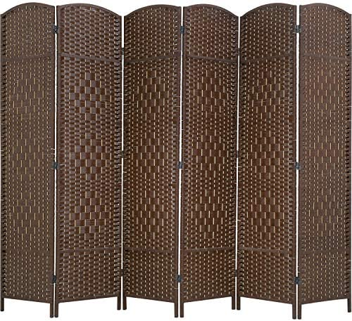 FDW Room Divider 6 Panel Folding Privacy Divider 6 Ft Indoor Wall Divider Portable Partition Wood Screen, Brown