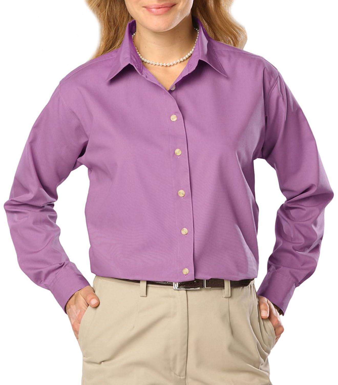 Blue Generation 6216 Ladies Poly Cotton Long Sleeve Easy Care Poplin Shirt (Mall786)
