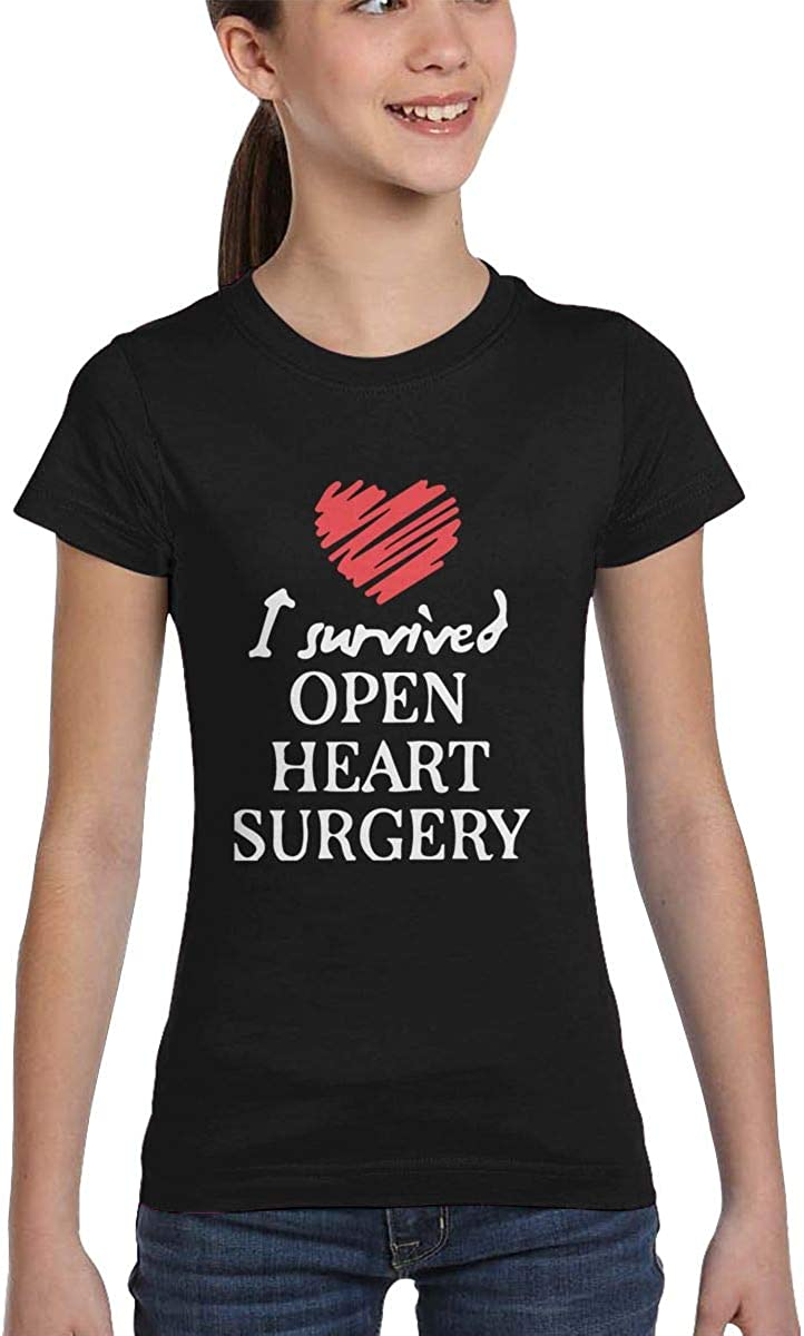 L6Nv4o@A Girls Short Sleeve I Survived Open Heart Surgery T-Shirts Casual Blouse Clothes XS-XL