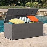 Alfresconova Outdoor Storage Deck Box Container All Weather Waterproof Furniture Resin Wicker Cabinet Patio Garden Backyard Utility Cushions Organizer 152 Gallon, Charcoal