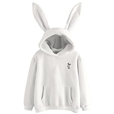 Sinfu Clearance!Womens Bunny Hoodie Sweatshirt Pullover Tops Blouse Girls Hooded Sweatshirt with Ears (
