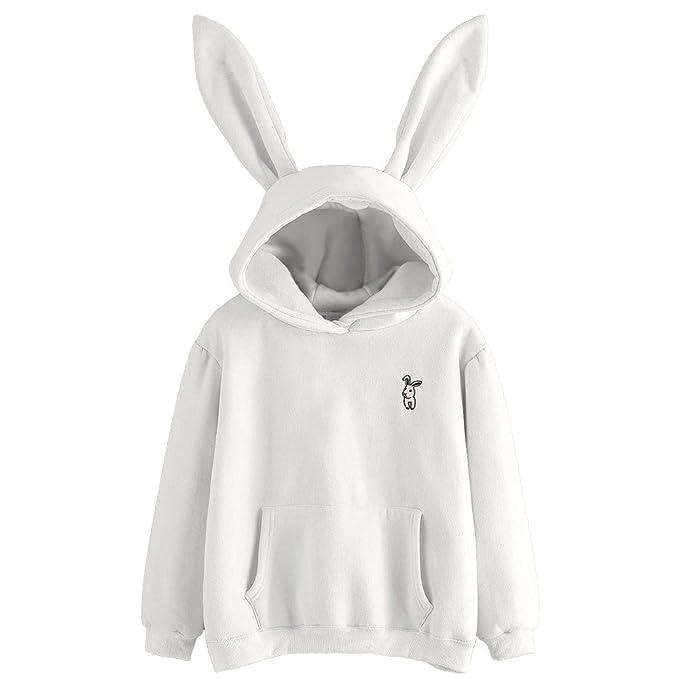 1fb52d8a00da BBsmile Mujer Sudadera Tumblr Larga con Capucha Orejas de Conejo Sudaderas  para Adolescentes Chicas Camiseta de Manga Larga Blusa Camisa Pullovers: ...