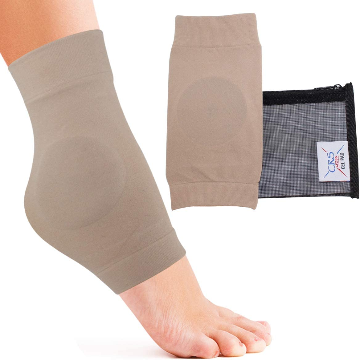 CRS Cross Ankle Malleolar Gel Sleeves - Premium Padded Skate Sock with Ankle Bone Pads for Figure Skating, Hockey, Inline, Roller, Ski, Hiking Boots. Ankle Protector & Cushion