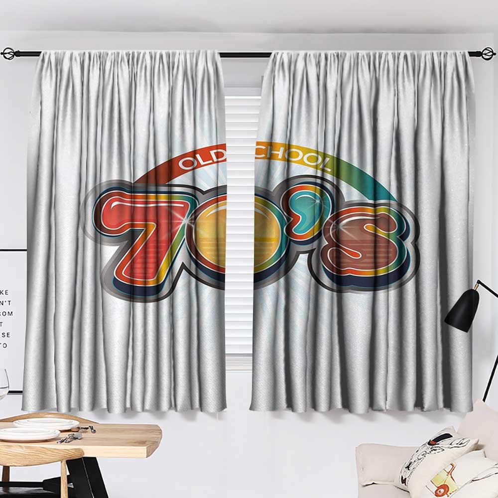 Jinguizi 70s Party Curtain Doorway Vintage Old School Icon Radial Design Classical Vivid Colored Art Print Pattern Darkening Curtains Red Marigold Aqua W55 x L39 by Jinguizi (Image #2)