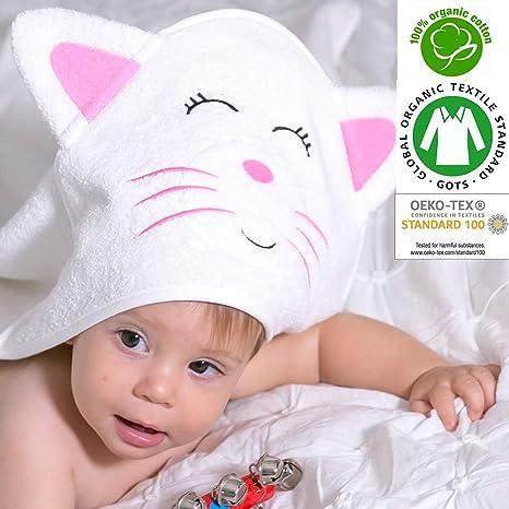 Toalla con capucha para bebé orgánico con certificado GOTS de 0 a 2 años, tamaño