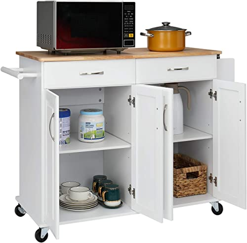 VINGLI Kitchen Island on Wheels Rolling Kitchen Buffet Cabinet Coffee Bar Cart 4 Doors and 2 Large Drawer