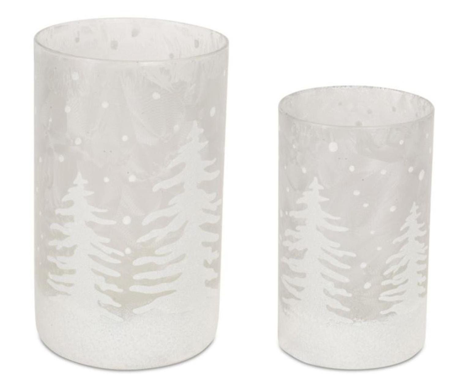 Pack of 4 Decorative Glass Frosted White and Silver Candle Holder