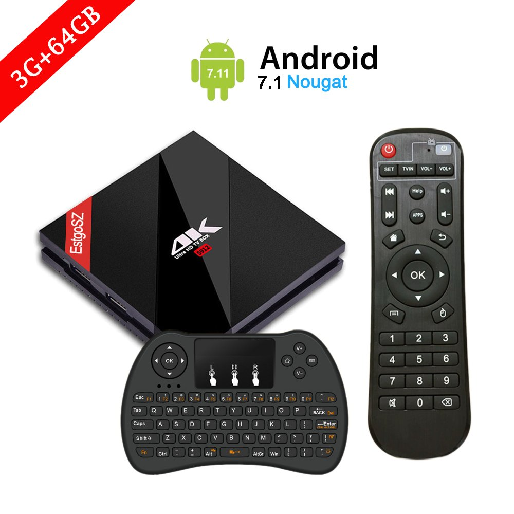 [ Powerful 3G / 64G Android 7.1 TV BOX ] EstgoSZ Smart Set Top Box with Wireless Keyboard Controller Amlogic S912 Octa Core CPU 4K Ultra HD Mini PC Supports Dual-WiFi 2.4GHz / 5GHz and 1000 LAN