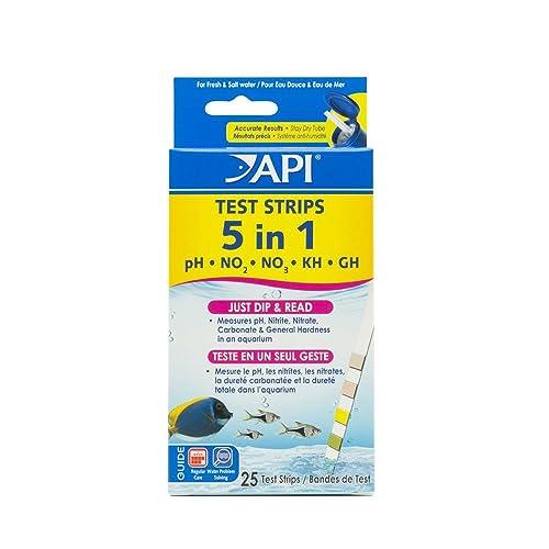 API 5-in-1 Freshwater and Saltwater Aquarium Test Strips Box, 25-Piece