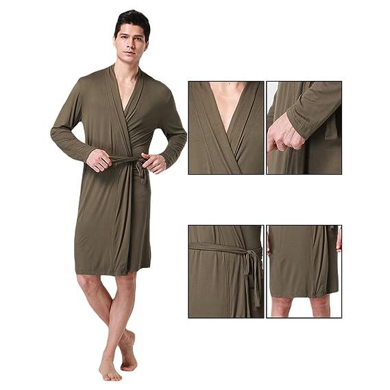d559615f5f WEEN CHARM Men Cotton Soft Silky Modal Robe Satin Lounge Robe Long Lightweight  Sleepwear at Amazon Men s Clothing store