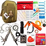 Emergency Survival Kit - First Aid Kit. Outdoor Survival Gear and Tools for Camping, Backpacking, Hiking, Hunting, Car or Adventure Travel. Includes Multi-tool/Waterproof Match Case/Wire Saw/Poncho