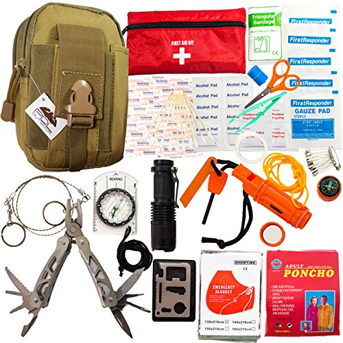 Emergency Survival Kit - First Aid Kit. Outdoor Survival Gear and Tools for Camping, Backpacking, Hiking, Hunting, Car or Adventure Travel. Includes Multi-Tool/Waterproof Match Case/Compass/Poncho