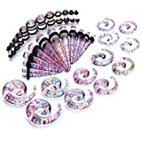 Gauges Kit Tie Dye Spiral Tapers and Plugs 8G-00G Stretching Kit -18 Pairs