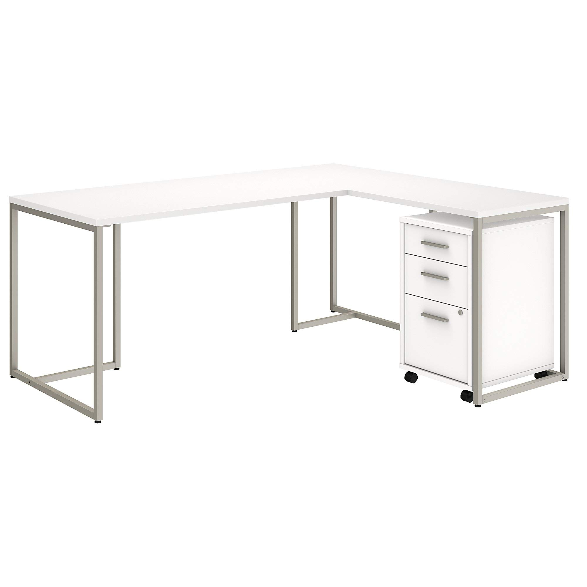 Office by kathy ireland Method 72W L Shaped Desk with 30W Return and Mobile File Cabinet in White
