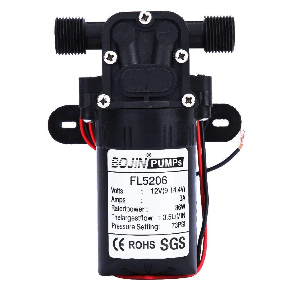 Mini bomba de agua, bomba de agua de diafragma eléctrica agrícola de 36 vatios para equipos industriales en general, equipos químicos, barcos, bebidas, alfombras y limpieza de pisos(DC12V)