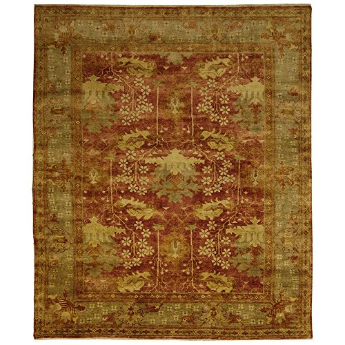 Safavieh Oushak Collection OSH108A Hand-Knotted Red and Green Wool Area Rug (9' x 12')
