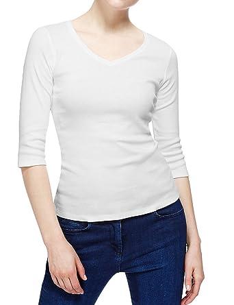 0cc922a44 Pack of 3 Ladies Famous Make 3/4 Sleeve V Neck White Cotton T-Shirt Tops.  Sizes 10 12 14 16 18 (16, WHITE): Amazon.co.uk: Clothing