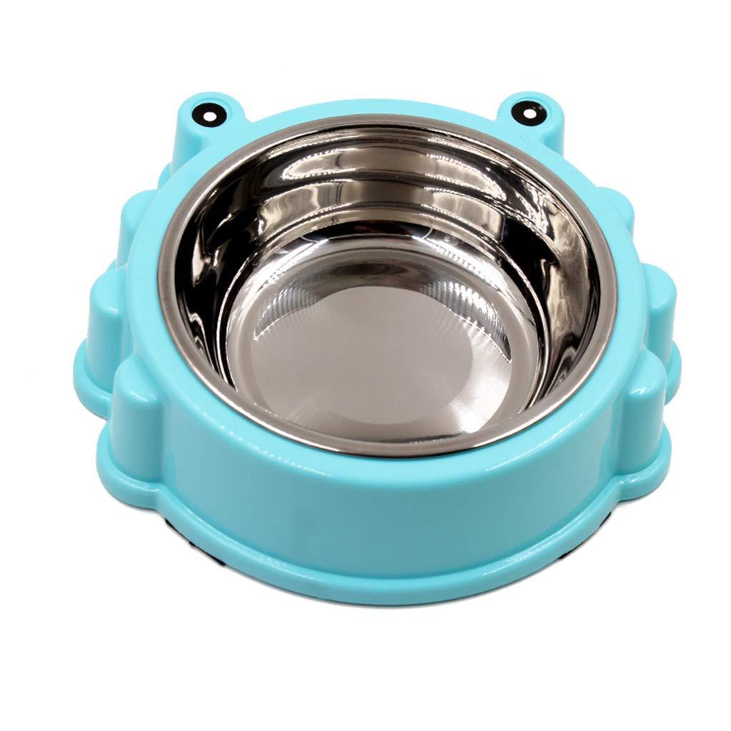 bluee MXD Dog Bowl Cat Bowl Stainless Steel Single Bowl Large Food Bowl Slip Wear Pet Cat Drinking Water Bowl Pet Bowl (color   bluee)