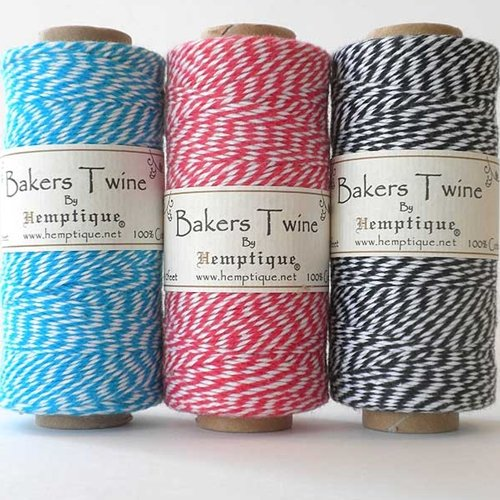 Hemptique BTS3-Bbw 3-Ply Baker's Twine Spool, Blue/Black/White