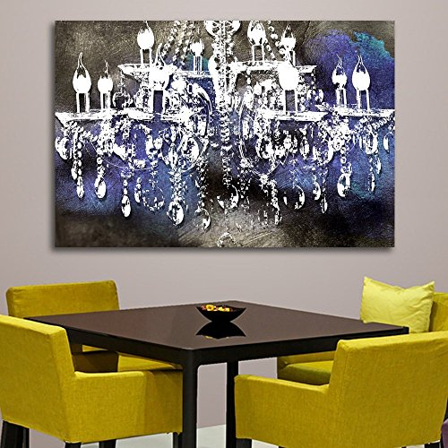 """Crystal Noir Chandelier Wall Decoration Digital Art Image Printed on 24""""X36"""" Canvas Stretched & Framed Ready to Hang From"""