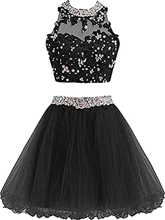 22974c06b9afc Chupeng Cute Lace Homecoming Dress Two Piece Prom Dress for Teens Ball Gown  Bridesmaid Dresses Applique