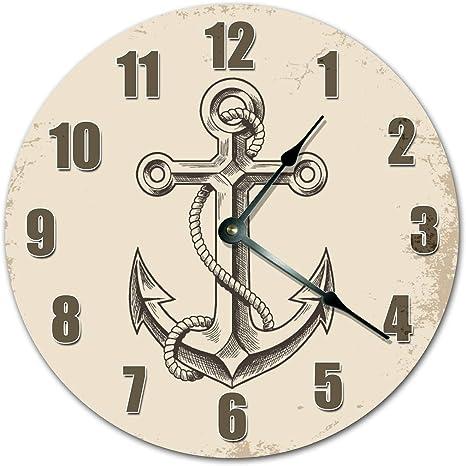 Amazon Com Easysells 10 5 Seamans Anchor Clipart Clock Large 10 5 Wall Clock Home Décor Clock Home Kitchen