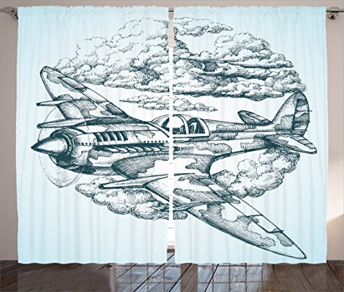 Ambesonne Airplane Decor Collection, Plane in the Sky Round Icon Vintage Plane in Mid-Air Military Cloud Aerospace Drawing Effect, Living Room Bedroom Curtain 2 Panels Set, 108 X 84 Inches, - Cockpit Collection