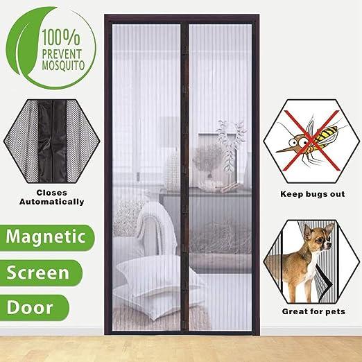 ZXPYN Mosquitera Mosquitera Puerta Magnetica Mantiene a los Insectos Fuera Fácil de Instalar para Puertas Correderas/Balcones/Terraza - Black 170x220cm(66.8×86.5inch): Amazon.es: Hogar
