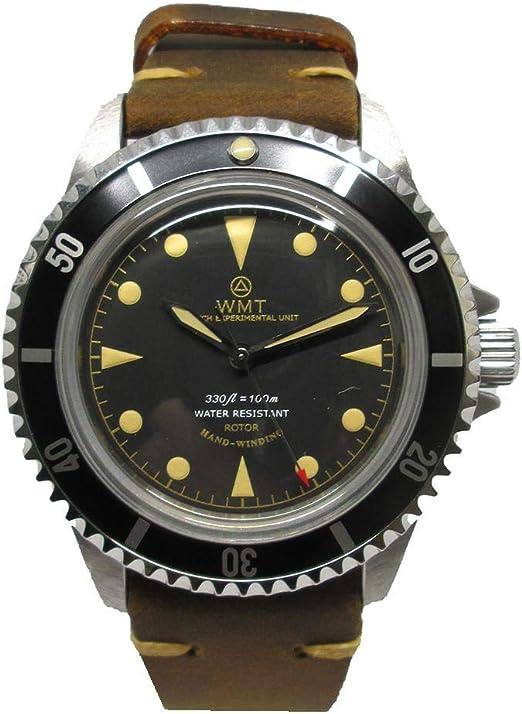 Orologio unisex walter mitt royal marine diver acciaio automatico nero pelle marrone BL-BR