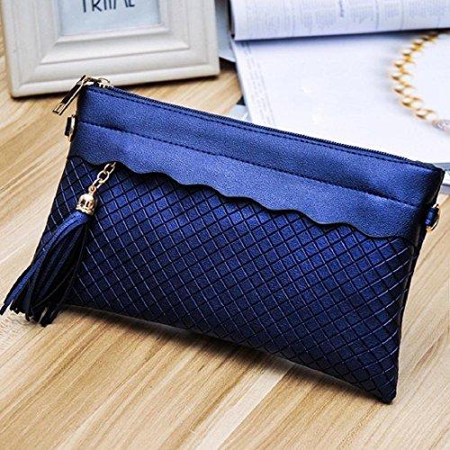 Tongshi Mujeres modelo de la armadura bolso de mano bolsa de mensajero Azul