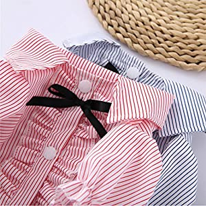 Pet Dog Polo Shirts Summer Stripe Clothes for Small Dogs Blue S 3.8-5.6lb